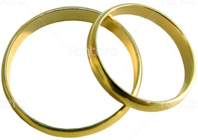Two isolated wedding gold rings