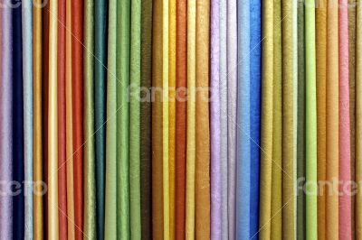 Row of colored textile materials