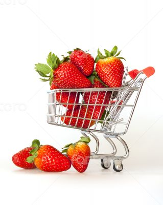Large ripe strawberry in the cart for shopping