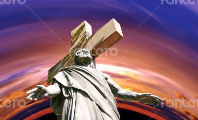 marble Holy cross with crucified Jesus Christ