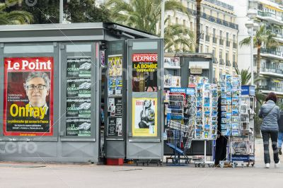 Nice, France. A newsstand on the city street