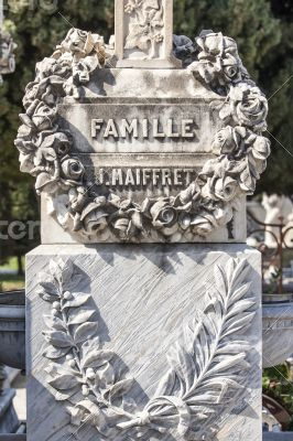 Nice, France. Gravestone monuments on a city cemetery