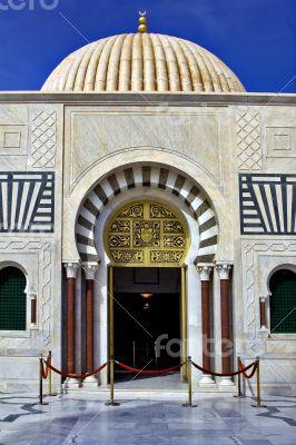 door of bourguiba`s gold mausoleum