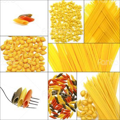 various type of Italian pasta collage