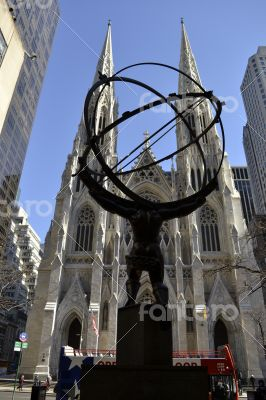 Atlas and St. Patrick from behind