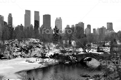 Gapstow bridge and upper west side in black and white