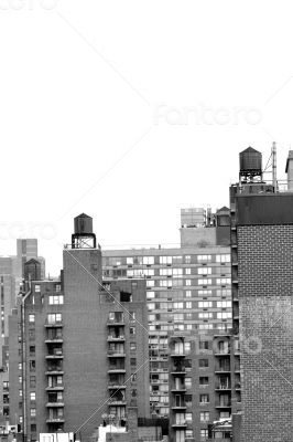 Water towers in black and white