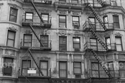 Fire escape in black and withe
