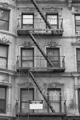 Black and white fire escape