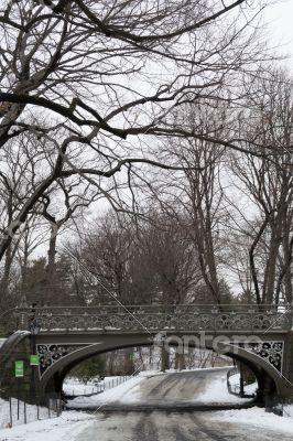South East Reservoir bridge under the snow