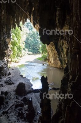 Entrance to the Tham Lod cave with stalactite and stalagmite