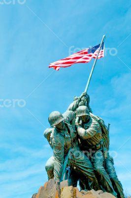 Marine Corps War Memorial under a blue sky