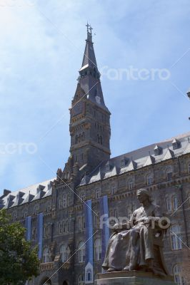 Tower of Georgetown University with the statue of John Carroll