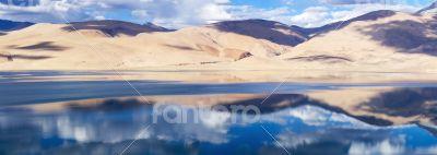 Tso Moriri Himalayan high altitude lake panorama