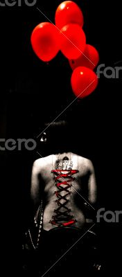 red baloons  play piercing body art