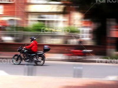 Blurred rider