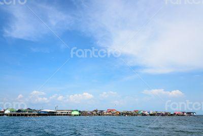 Fisherman village at Koh Panyee or Punyi island in summer