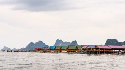 Pier and floating restaurant at Koh Panyee island