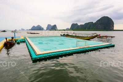 Football field floating on the sea