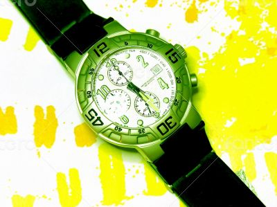 Stylish Wrist Watch on Patterned Yellow Background