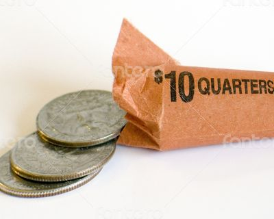 Ten Dollar Roll of American Quarters Open at End