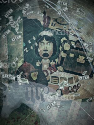 Travel Themed Collage Artwork with Surprised Woman