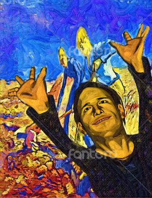 Colorful Artwork of Joyful Man with Arms Raised