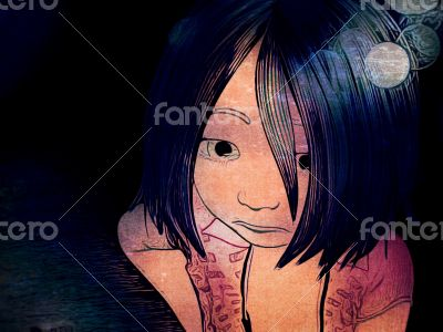 Cartoon Drawing of Young Sad Girl