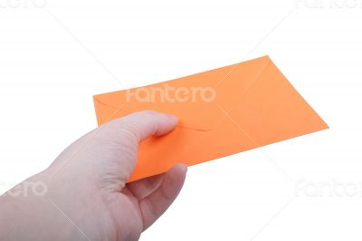 Hand with orange envelope