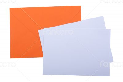 Orange envelope with white papers