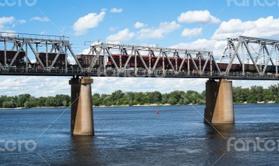 Railroad bridge  with freight train