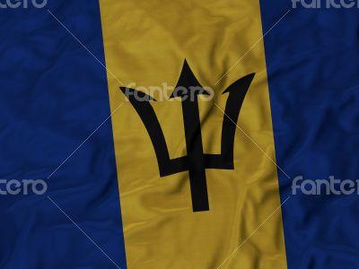 Close up of Ruffled Barbados flag