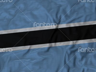 Close up of Ruffled Botswana flag