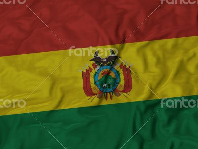 Close up of Ruffled Bolivia flag