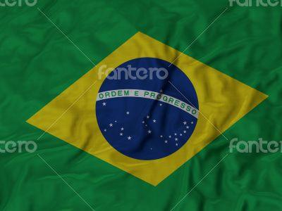 Close up of Ruffled Brazil flag