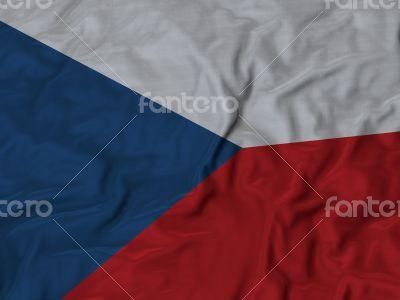 Close up of Ruffled Czech Republic flag