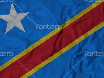 Close up of Ruffled Democratic Republic flag