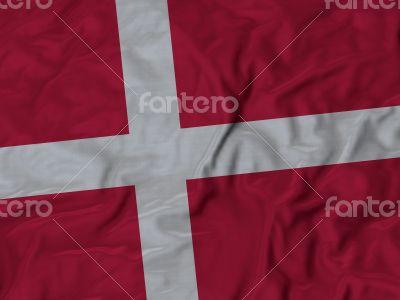 Close up of Ruffled Denmark flag