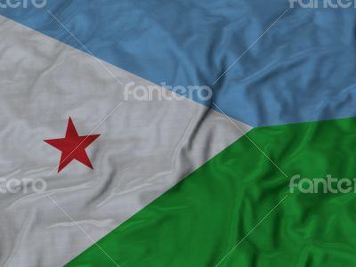 Close up of Ruffled Djibouti flag