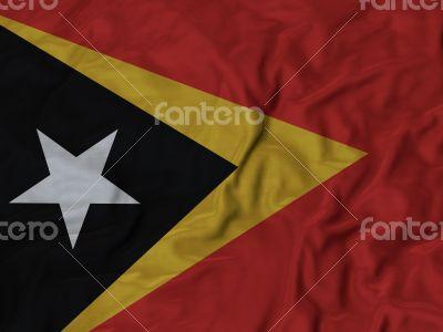 Close up of Ruffled East Timor flag