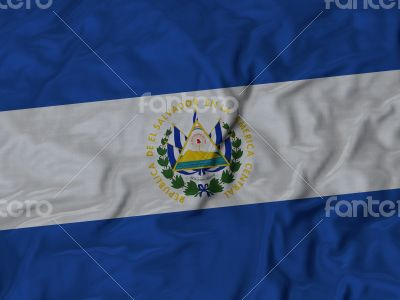 Close up of Ruffled El Salvador flag