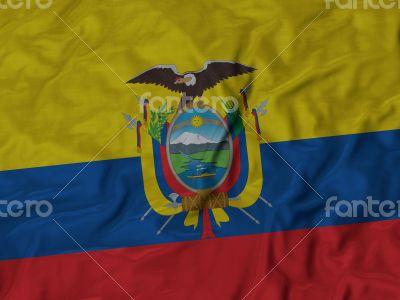 Close up of Ruffled Ecuador flag