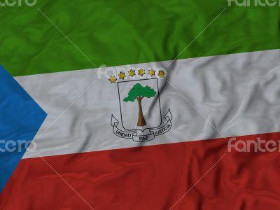 Close up of Ruffled Equatorial Guinea flag