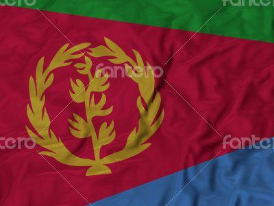 Close up of Ruffled Eritrea flag