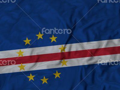 Close up of Ruffled Cape Verde flag