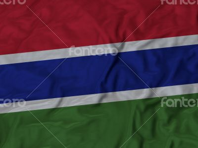 Close up of Ruffled Gambia flag