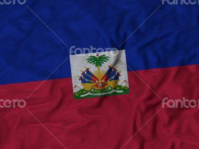 Close up of Ruffled Haiti flag