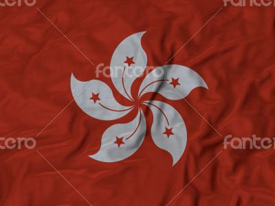 Close up of Ruffled Hong Kong flag