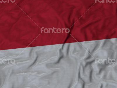 Close up of Ruffled Indonesia flag