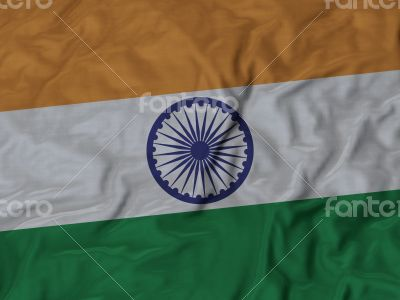Close up of Ruffled India flag